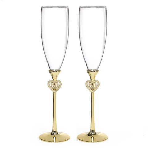 Jeweled 50th Anniversary Flutes with Brass Plated Stems and Rhinestone Studded Accents, 50th anniversary flutes, 50th anniversary decorations, 50th anniversary champagne flutes, 50th anniversary toasting flutes, Flutes and Glassware
