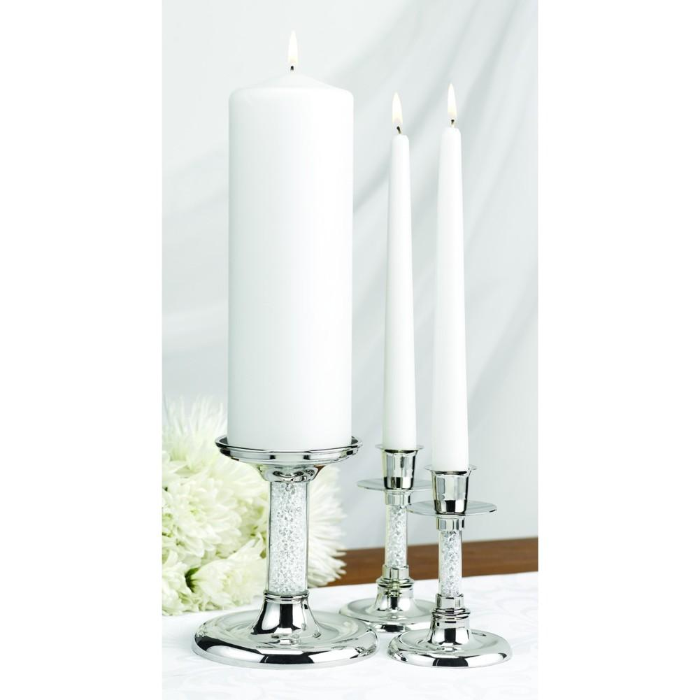 Glittering Beads Nickel-Plated Unity Candle Stand Set - Sophie's Favors and Gifts