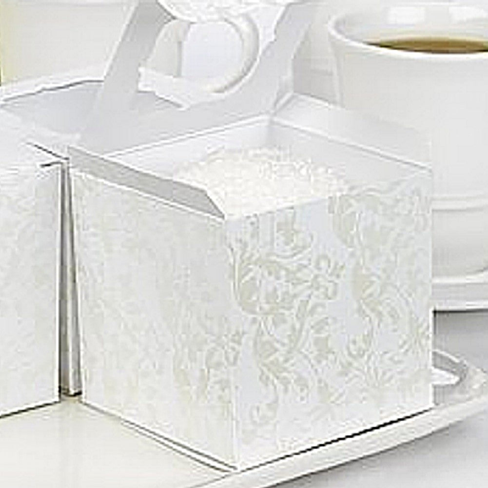 Pearl Flourish White Cupcake Boxes - 3in. X 3in. X 3in. - Sophie's Favors and Gifts