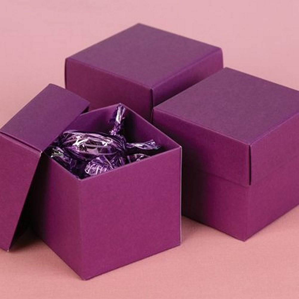 Purple Grapevine 2in. X 2in. X 2in. 2-Piece Favor Boxes, purple favor boxes, purple gift boxes, purple weddings, two piece boxes, Favor Boxes