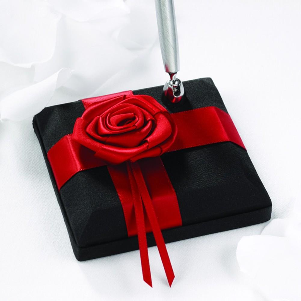 Midnight Rose Black and Red Pen Set, black red pen set, pen set for wedding, black red decorations, black red pen holder, Pen Sets
