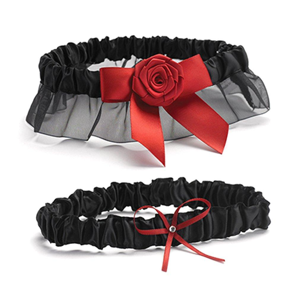 Black Satin Wedding Garter Set - Red Rose Ribbon Accent - Sophie's Favors and Gifts