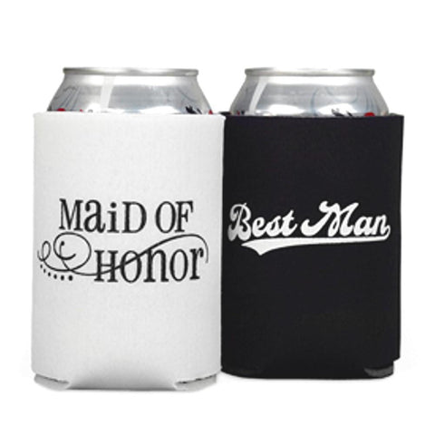 Maid of Honor and Best Man Can Cooler Set, can coolers, wedding party gifts, maid of honor gifts, wedding party gift ideas, Wedding Gifts