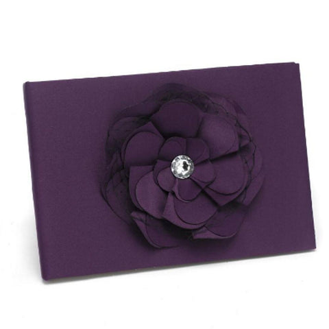 Dark Purple Satin Guest Book with Flower Accent - Sophie's Favors and Gifts