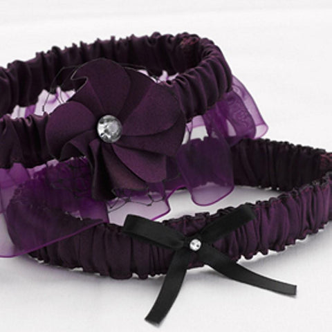 Floral Fantasy Eggplant Garter Set, wedding garter, bridal garter, purple garter, purple wedding garter set, Wedding & Prom Garters