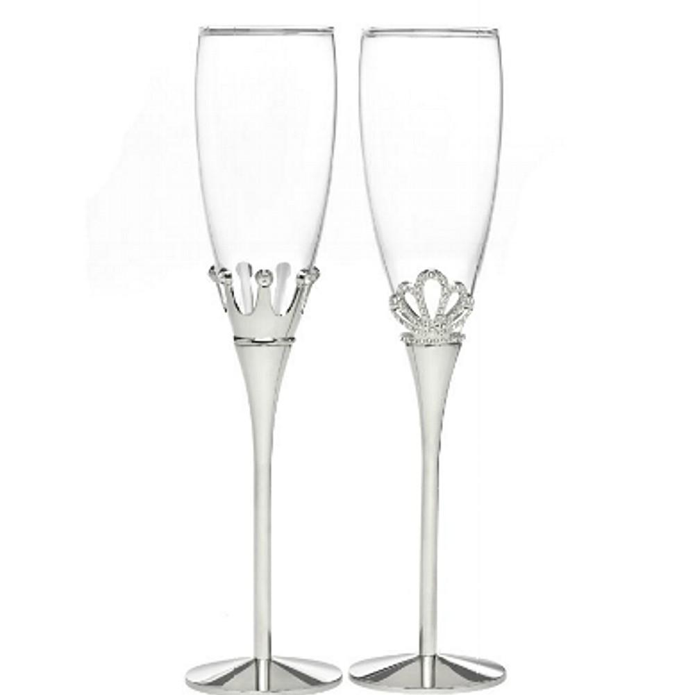 Kind and Queen Crown Champagne Toasting Flutes - Set of 2, wedding flutes, champagne glasses, toasting flutes, fairytale weddings, Flutes and Glassware