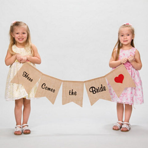 Here Comes The Bride Burlap Banner, wedding banners, wedding decorations, country weddings, western weddings, Party Decorations - Wall - Ceiling - Floor