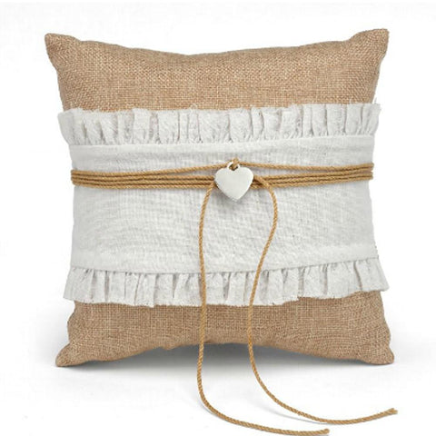 Country Romance Burlap Ring Pillow with Twine and Heart Charm - Sophie's Favors and Gifts