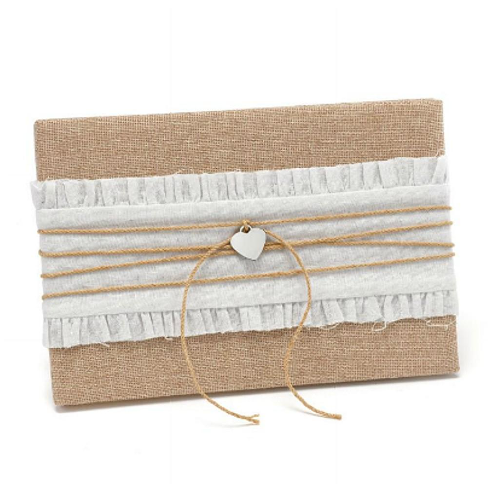 Rustic Burlap Guest Book with Heart Accent - Sophie's Favors and Gifts