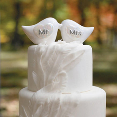 Mr. And Mrs. Love Birds Cake Top - Sophie's Favors and Gifts
