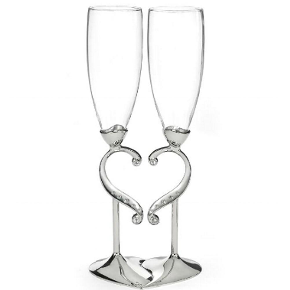 Linked Hearts Wedding Flutes - Set of 2, wedding flutes, champagne flutes, engagement gifts, wedding gifts, Flutes and Glassware