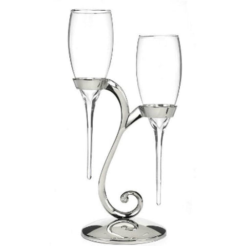 Raindrop Wedding Flutes with Swirl Strand - Set of 2 - Sophie's Favors and Gifts