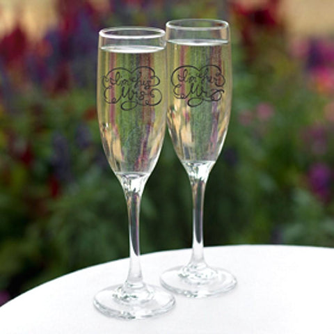 I'm His Mrs. / I'm Her Mr. Wedding Toasting Flutes - Set of 2, wedding flutes, champagne flutes, wedding gifts, wedding toasting flutes, Flutes and Glassware