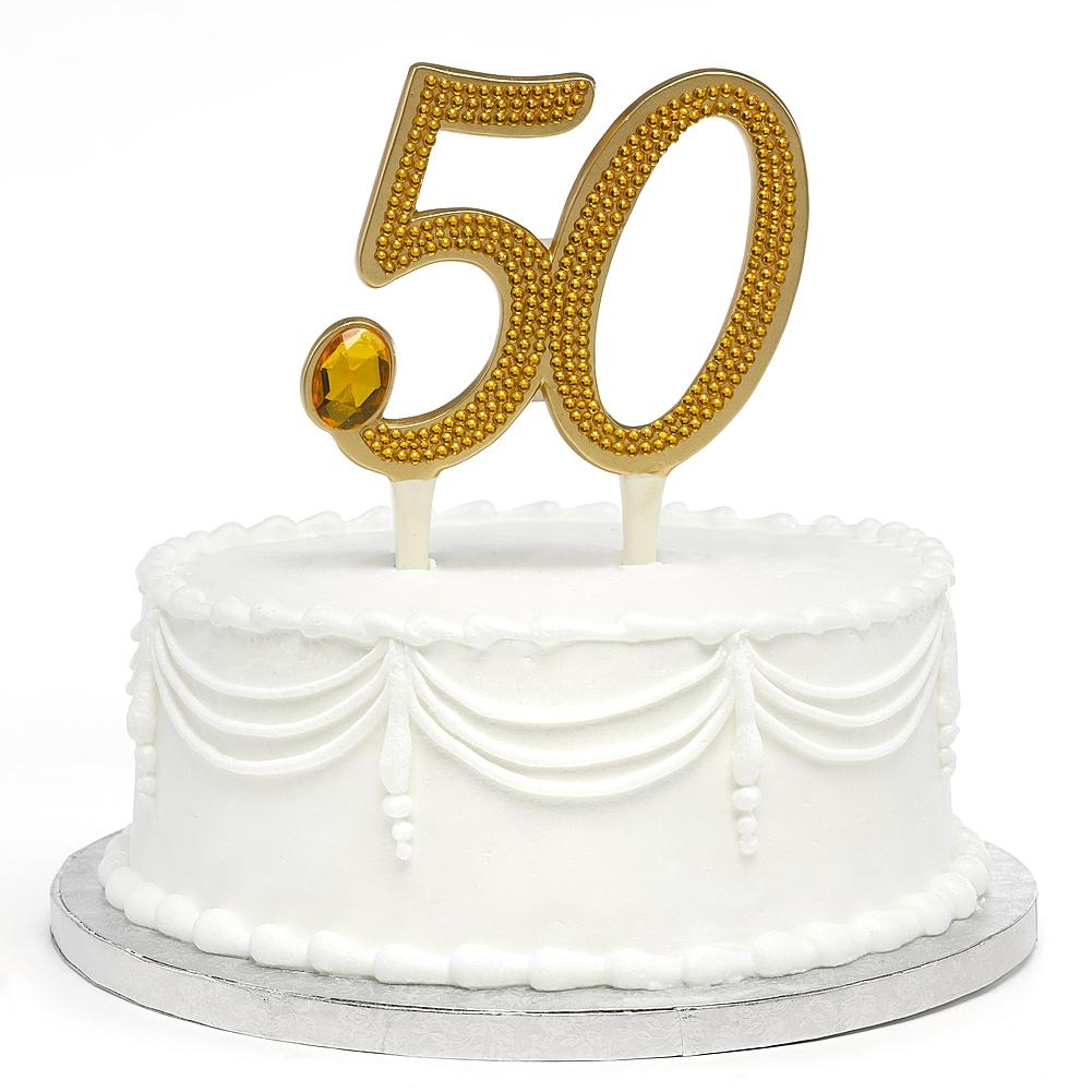 Gilded 50th Anniversary Cake Pick - Sophie's Favors and Gifts