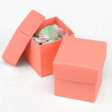 Coral Two Piece Favor Boxes - 2in. X 2in. X 2in., party favor boxes, wedding favor boxes, two piece boxes, green weddings, Favor Boxes