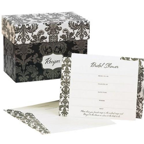 Damask Invitations and Recipe Box Gift Set - Set of 25, bridal shower ideas, damask weddings, bridal shower invitations, bridal shower supplies, Invitations