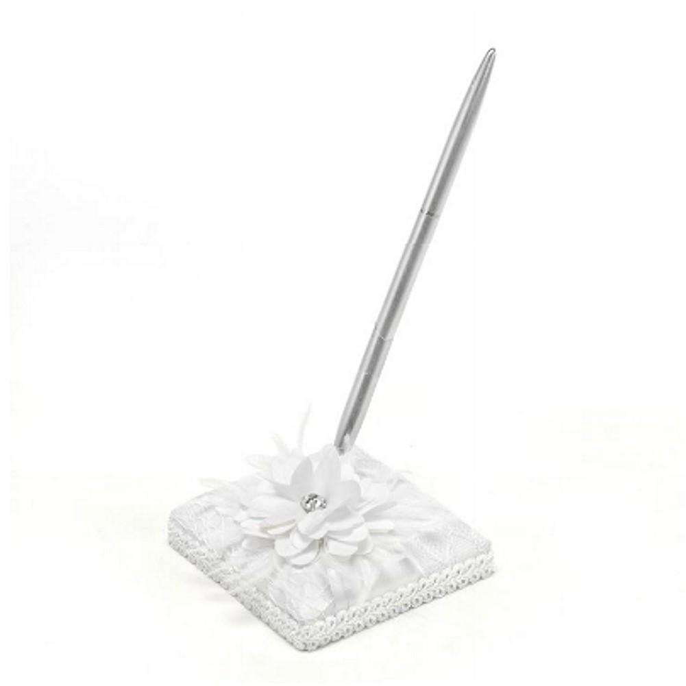 White Satin Pen Set with Silver Tone Pen - Lace, Flower, and Rhinestone Accents - Sophie's Favors and Gifts