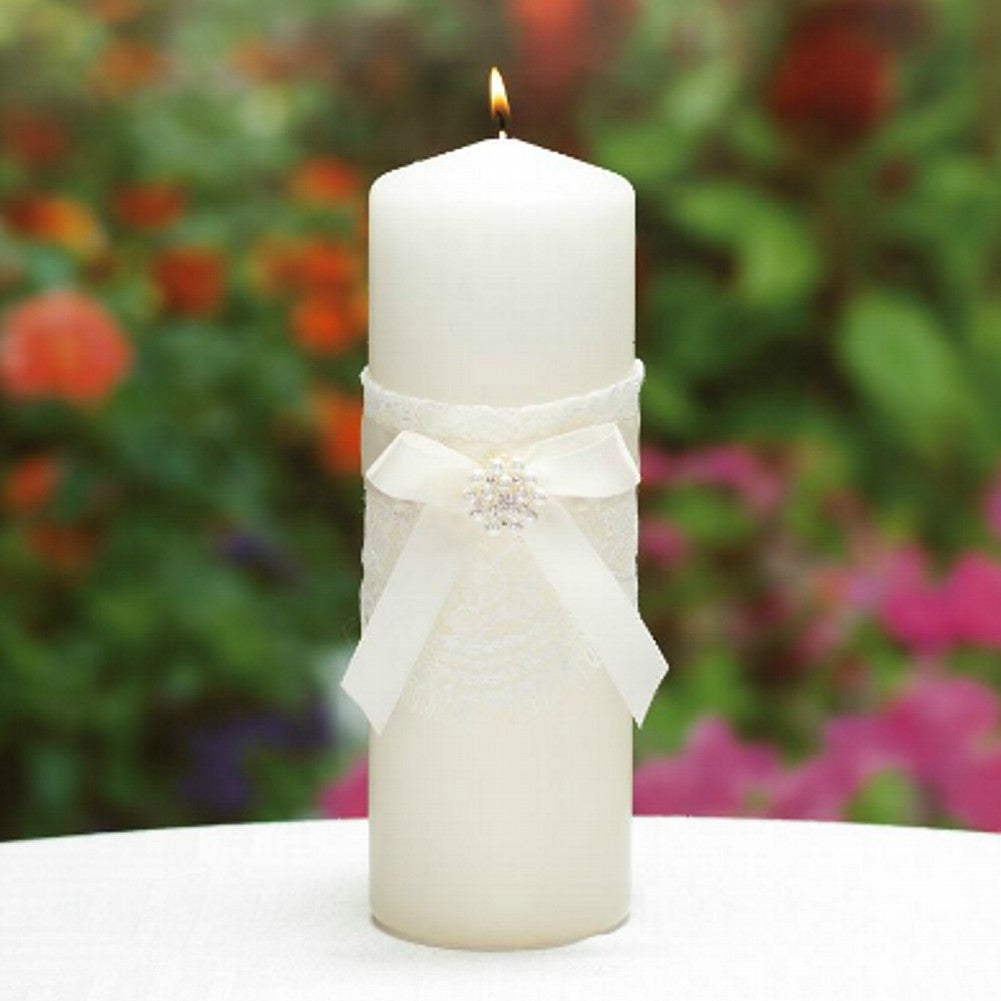 Ivory Unity Candle with Satin Bow, Rhinestone and Pearl Accents - Sophie's Favors and Gifts