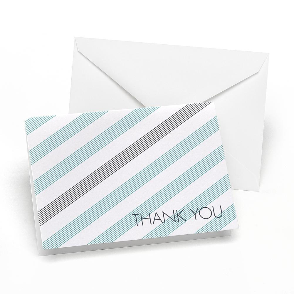 Lagoon and Slate Simple Stripe Thank You Notes and Envelopes (Pack of 50) - Sophie's Favors and Gifts