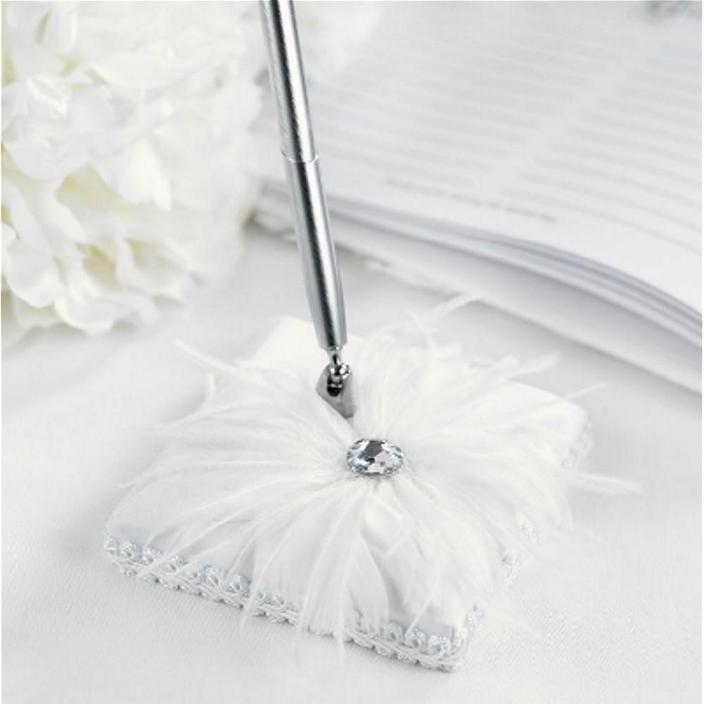 Feathered White Satin Pen Set with Silver Tone Pen - Gemstone Accent, wedding ideas, custom pens, quality pens, white bridal accessories, Pen Sets