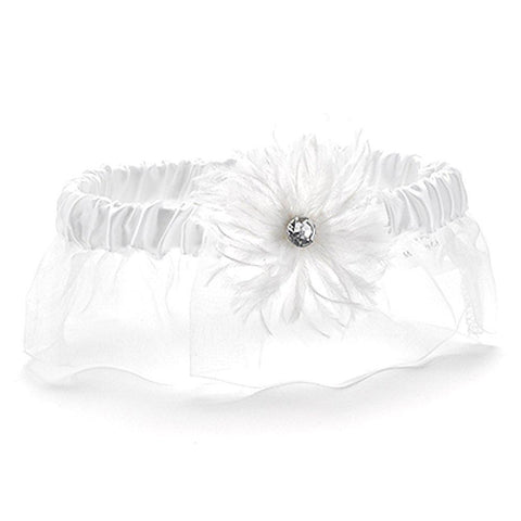 White Feathered Wedding Garter - Sophie's Favors and Gifts