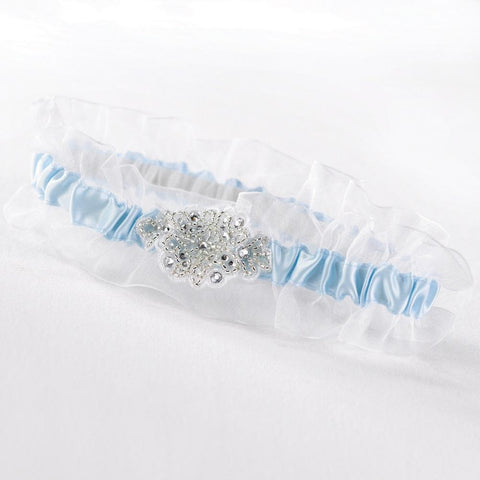 Glittering Beads Garter, wedding garter, bridal garter, something blue garter, garter with rhinestones, Wedding & Prom Garters