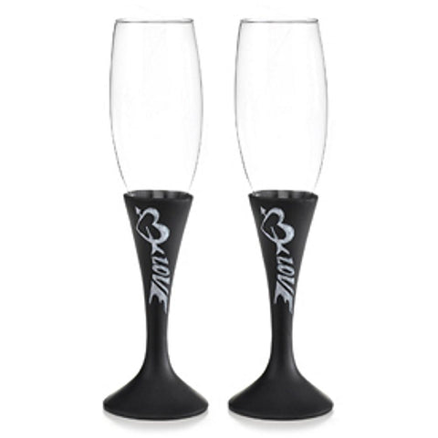 Love and Hearts Chalkboard Style Toasting Flutes - Sophie's Favors and Gifts