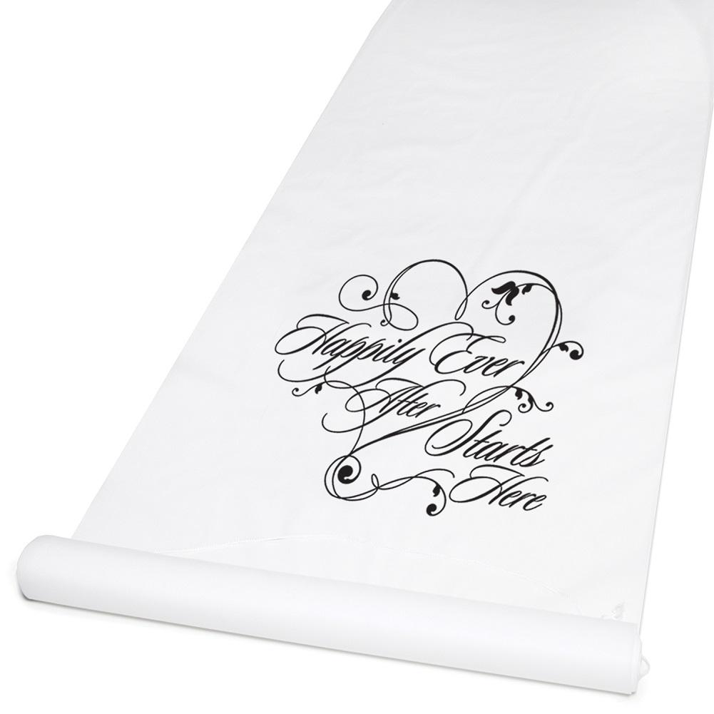 White Happily Ever After Aisle Runner, aisle runner, aisle runners, wedding decorations, wedding decoration ideas, Party Decorations - Wall - Ceiling - Floor
