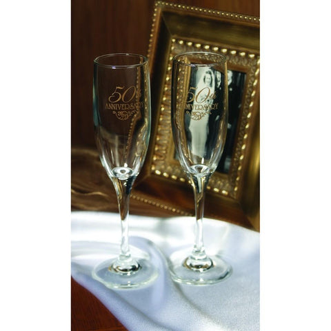 50th Anniversary Flourish Flutes (Set of 2), 50th anniversary flutes, 50th anniversary decorations, champagne glasses for 50th anniversary, 50th anniversary champagne flutes, Flutes and Glassware