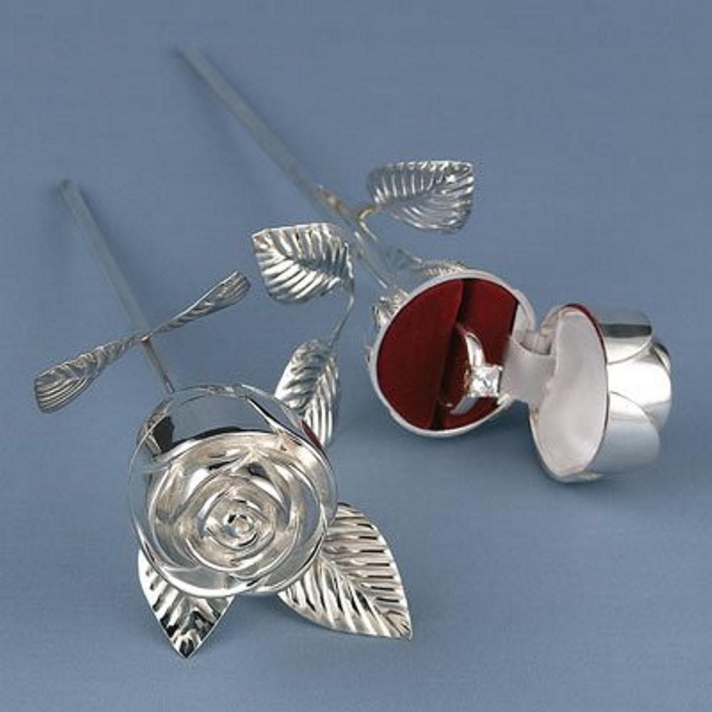 Silver Plated Rose Flower Ring Box - Sophie's Favors and Gifts