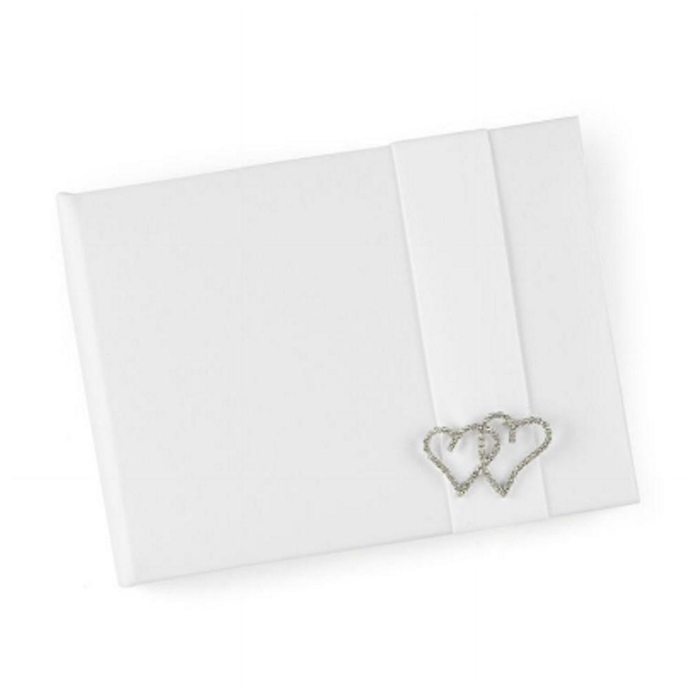 Double Rhinestone Heart White Satin Guest Book, double hearts wedding, hearts wedding, guest book, white guest books, Guest Books & Albums