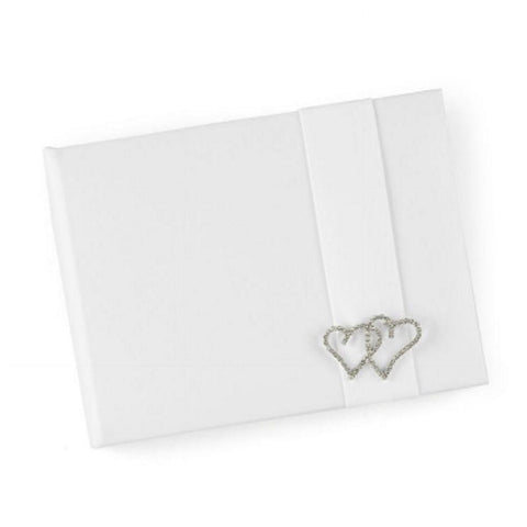 Double Rhinestone Heart White Satin Guest Book - Sophie's Favors and Gifts