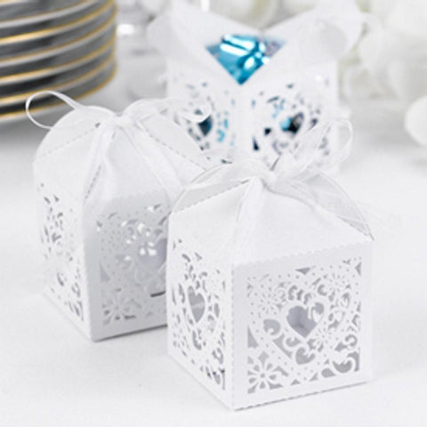 White Shimmer Favor Boxes with Ornate Heart Design - Sophie's Favors and Gifts