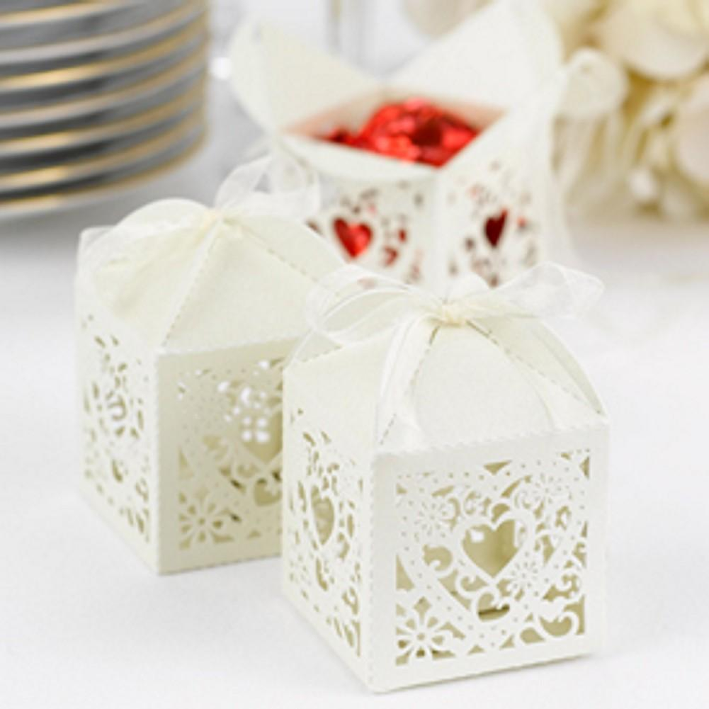 Ivory Shimmer Favor Boxes with Ornate Heart Design - Sophie's Favors and Gifts