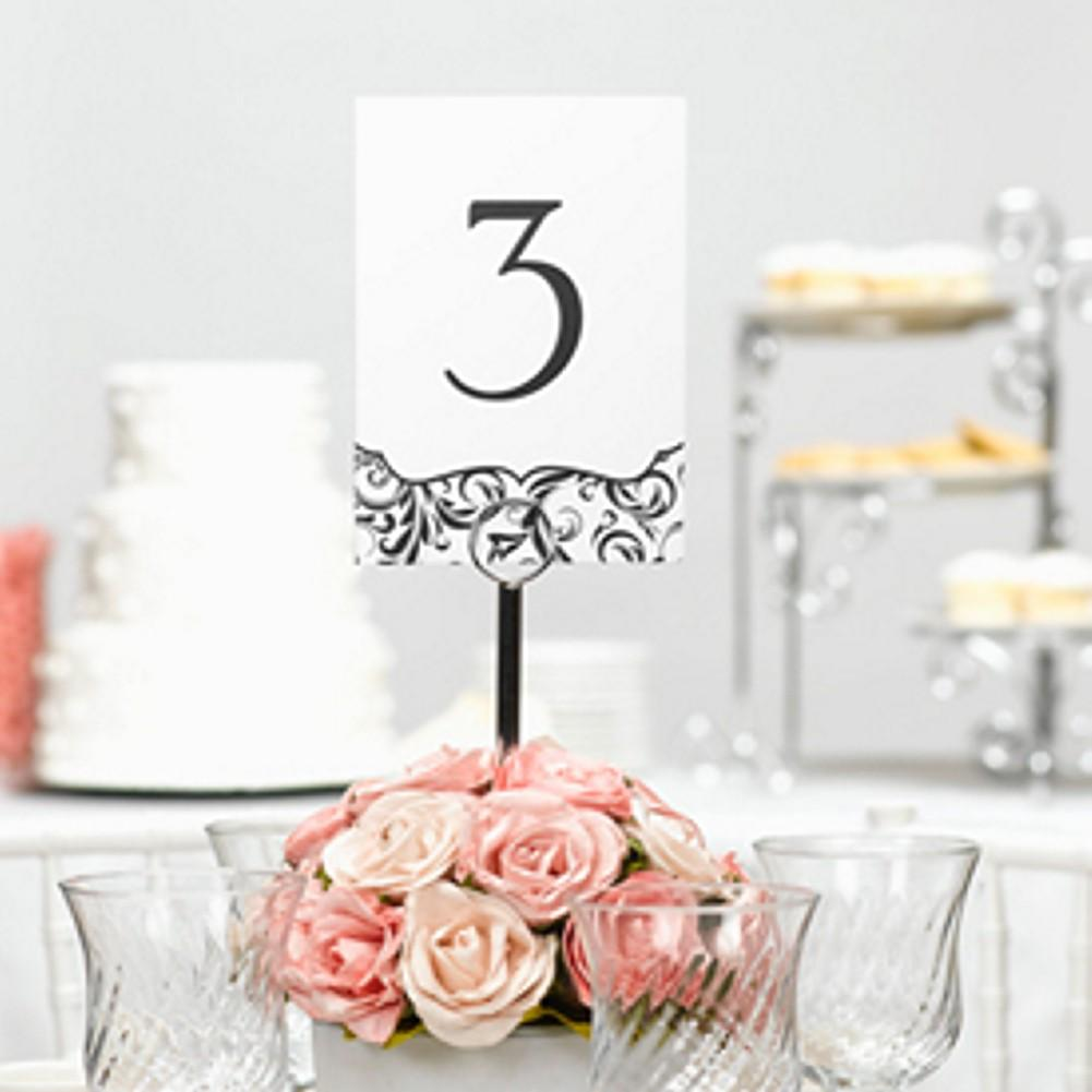 Flourish Black and White Table Number Cards - 1 to 40 - Sophie's Favors and Gifts