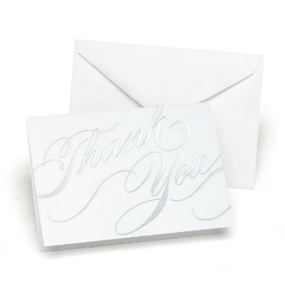 Silver Foil Swirls Thank You Cards with White Envelopes - Sophie's Favors and Gifts