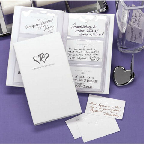 Double Hearts Well Wishes White Guest Book - Sophie's Favors and Gifts