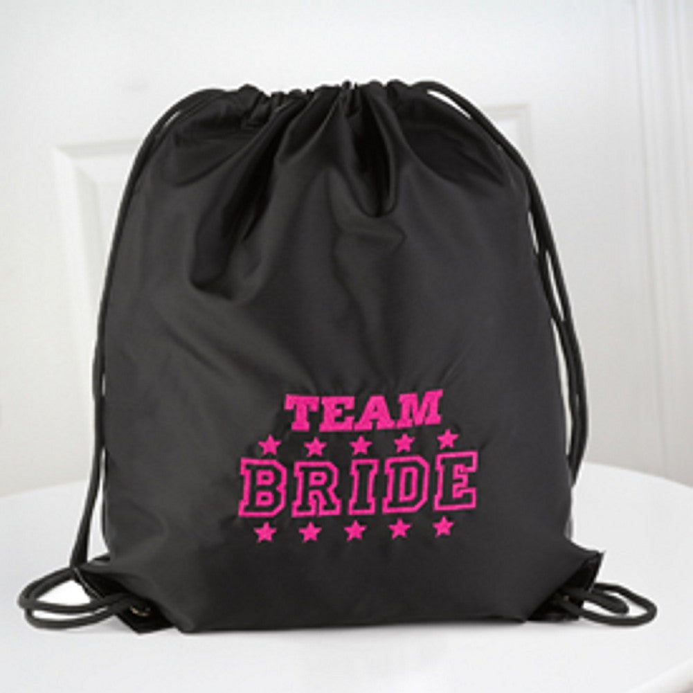 Team Bride Black Cinch Bag - Sophie's Favors and Gifts