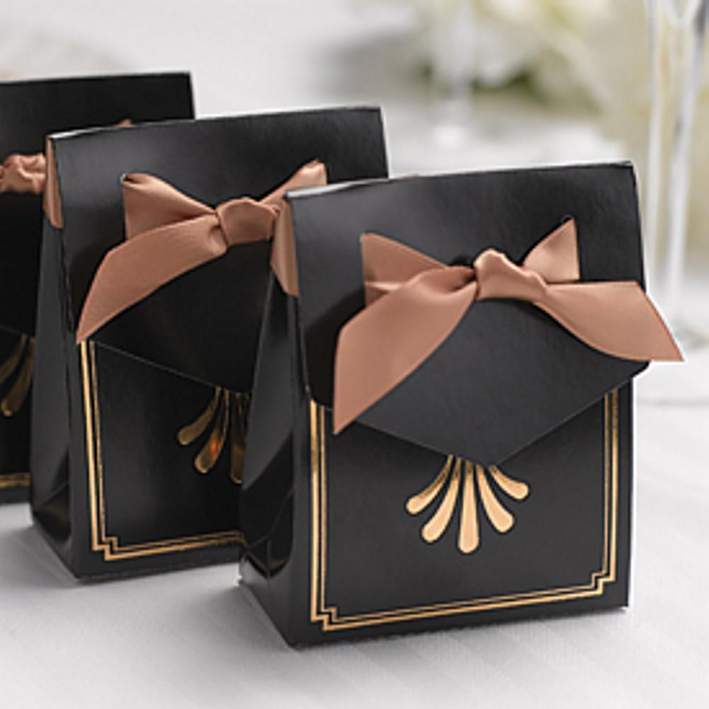 & Art Deco Tent Favor Boxes with Gold Flourish Design
