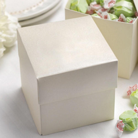 Two Piece Cupcake Boxes in Ivory Shimmer - 4in. X 4in. X 4in., party favor boxes, wedding favor boxes, two piece boxes, ivory gift boxes, Favor Boxes