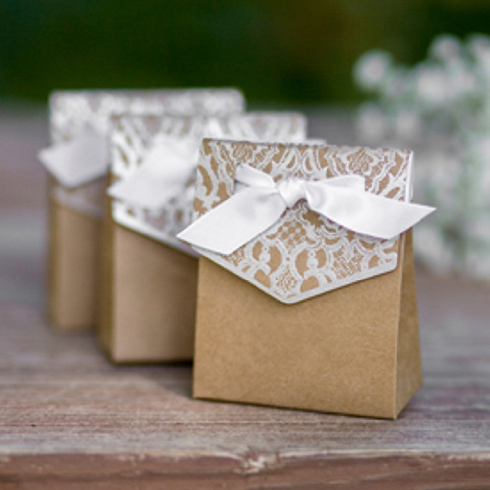 Vintage Lace Tent Favor Boxes - Pack of 25 - Sophie's Favors and Gifts