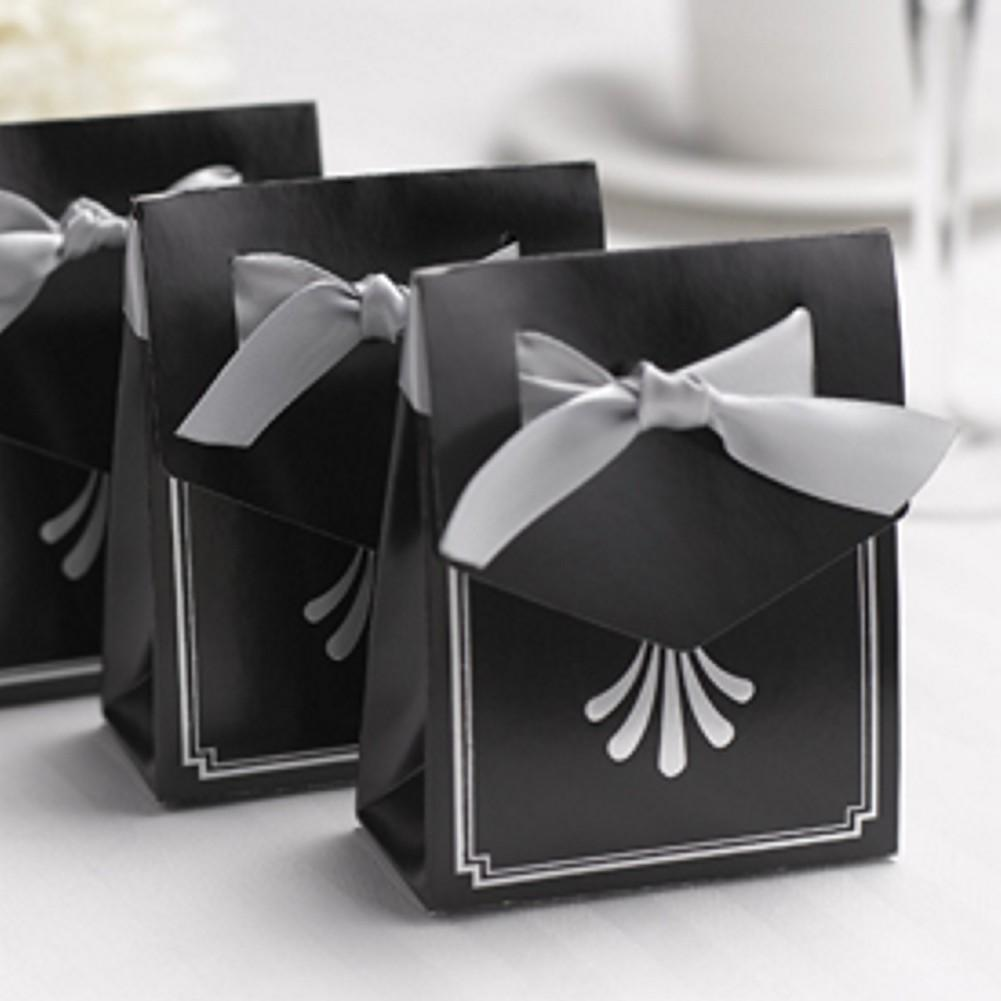 Art Deco Tent Favor Boxes with Silver Flourish Design, party favor boxes, wedding favor boxes, art deco weddings, art deco theme, Favor Boxes