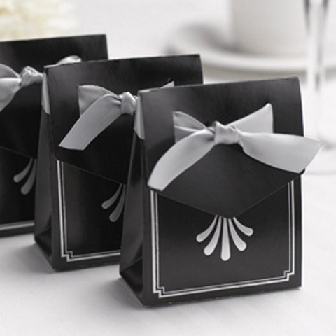Art Deco Tent Favor Boxes with Silver Flourish Design - Sophie's Favors and Gifts