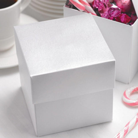 White Shimmer Two Piece Cupcake Boxes - 4in. X 4in. X 4in., party favor boxes, wedding favor boxes, two piece boxes, white gift boxes, Favor Boxes
