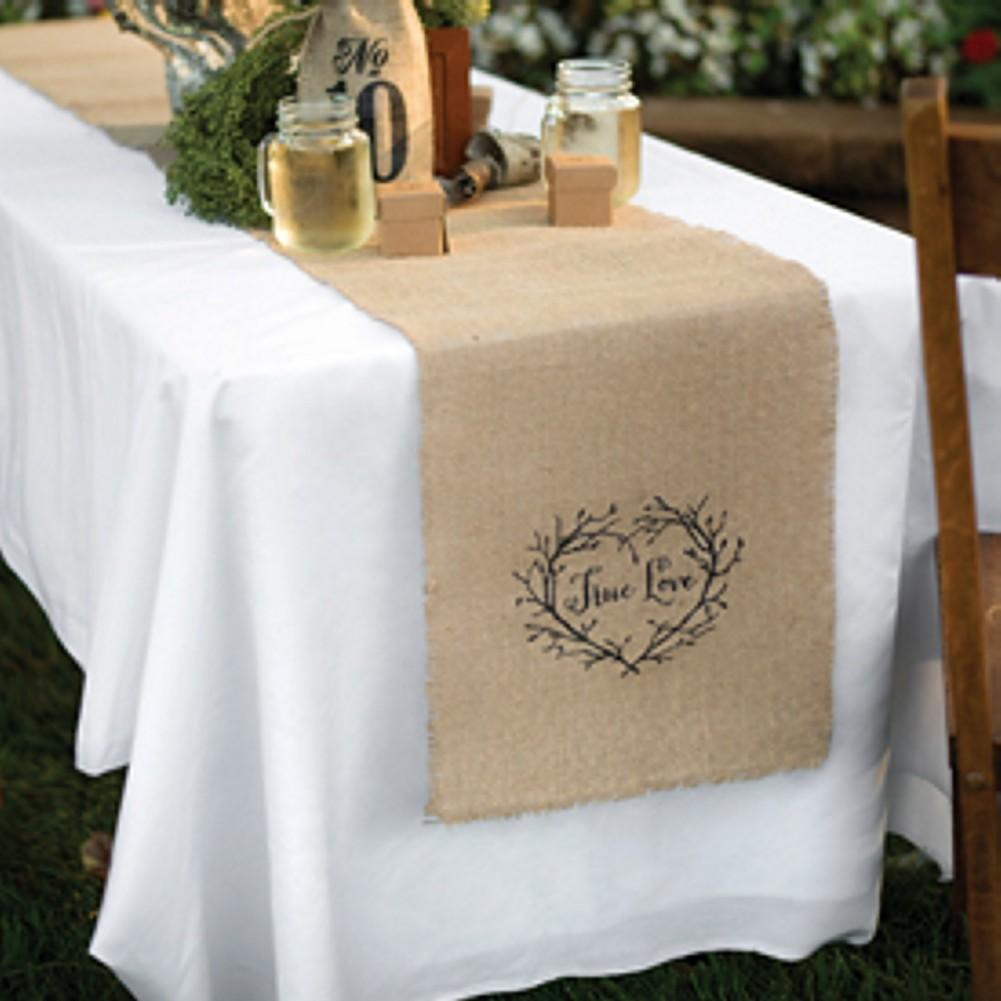 True Lov Burlap Table Runner - 14in. X 120in., wedding reception decorations, table runners, wedding reception, table runner, Party Decorations - Wall - Ceiling - Floor