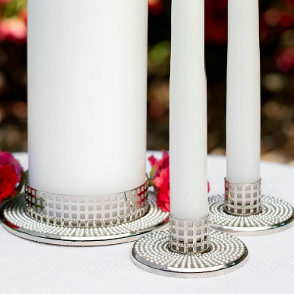 Vintage Candle Stands with Pearl Accents - Set of 3 - Sophie's Favors and Gifts