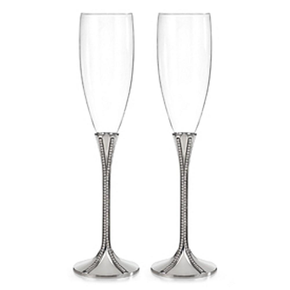 Elegant Toasting Flutes with Two Vertical Lines of Rhinestone Accents - Sophie's Favors and Gifts