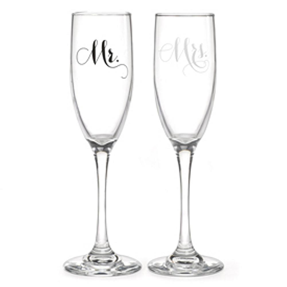 Mr. And Mrs. Champagne Flutes Set, wedding flutes, champagne flutes, wedding champagne glasses, wedding toasting flutes, Flutes and Glassware