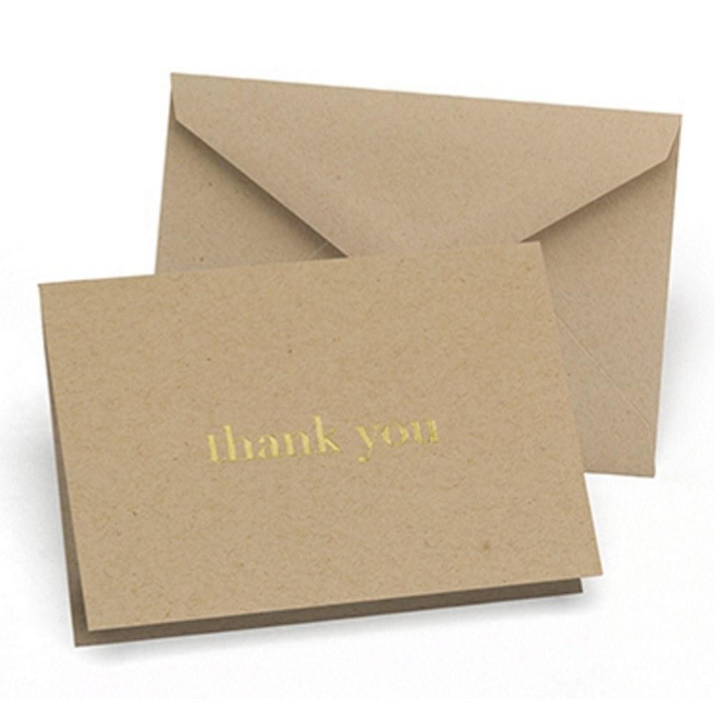 Golden Natural Thank You Cards and Envelopes (Pack of 50) - Sophie's Favors and Gifts