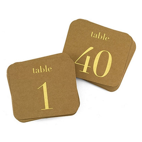 Kraft With Gold Numbers Table Number Cards - 1 To 40, wedding table numbers, table numbered cards, wedding reception ideas, table cards, Table Decorations & Centerpieces